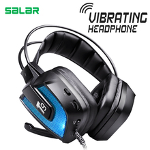 Best price Salar T9 Best Gaming Headset Wired Headband Noise Canceling Headphones with Microphone/LED Light Vibration for Computer PC Gamer