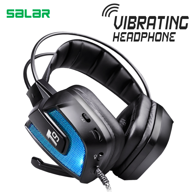 Salar T9 Best Gaming Headset Wired Headband Noise Canceling Headphones with Microphone/LED Light Vibration for Computer PC Gamer