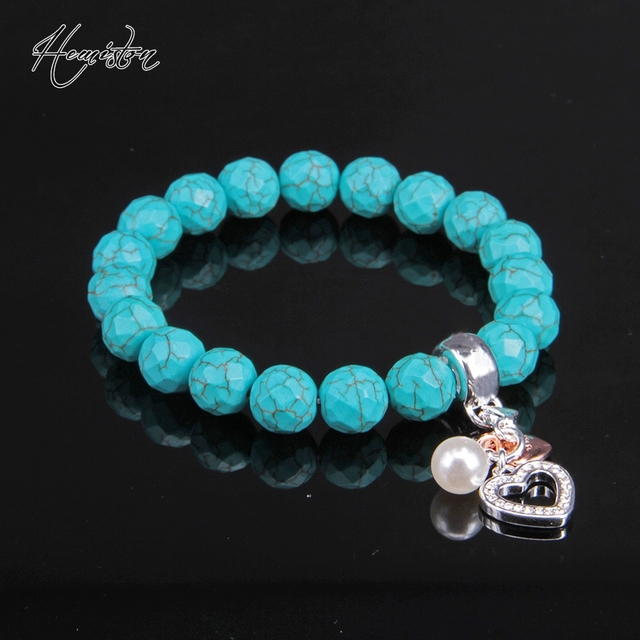 Thomas Turquoise Bead Charm Bracelet with Heart, Pearl Charm, TS Charm Bracelet Fine Jewelry For Women and Men