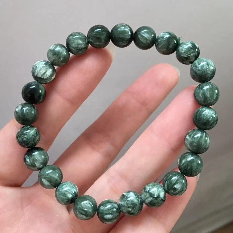 Genuine Natural Seraphinite Verde Pulseiras de Cristal