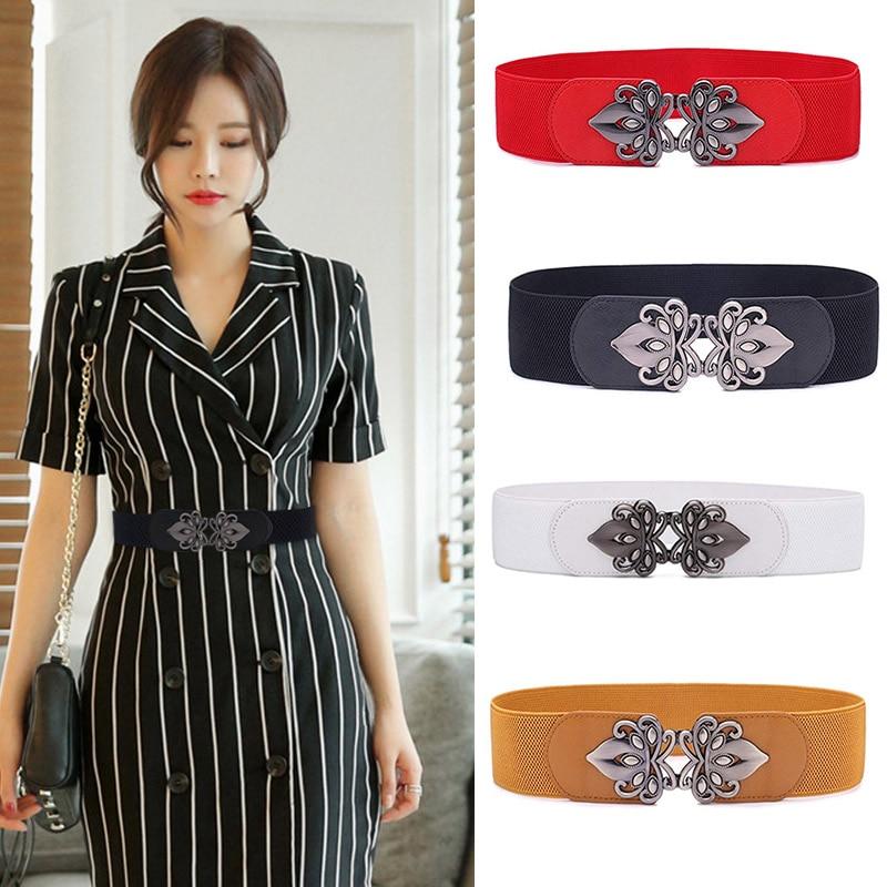 New Women Wide Elastic Waist Belt Retro Stretch Cinch Belt With Interlocking Buckle Cinturones Mujer Ceinture Femme