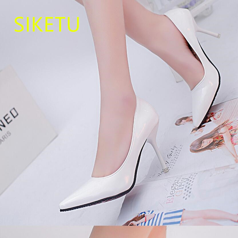 SIKETU Free shipping Spring and autumn high heels shoes Career sex women shoes Wedding shoes Patent leather style pumps g017 siketu 2017 free shipping spring and autumn women shoes high heels shoes wedding shoes nightclub sex rhinestones pumps g148