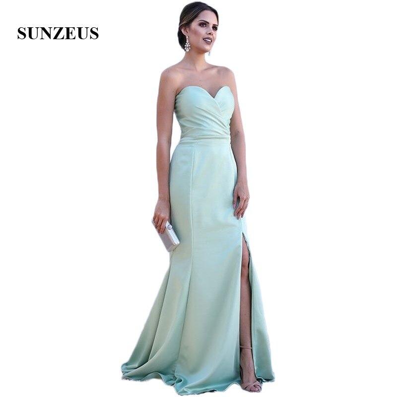 Leg Slit Sheath   Bridesmaid     Dresses   2018 Sweetheart Mint Green Satin Wedding Party   Dresses   robe demoiselle d'honneur SBD118