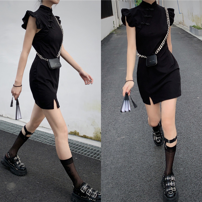 Girls Chinese Style Fashion Cheongsam Dress Retro Qipao Sexy Women Split Butterfly Sleeve Mini Sexy Dress Vintage Outfits