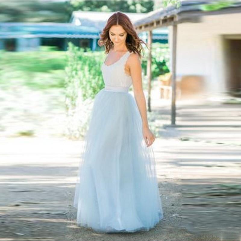 Fresh Light Blue Long Skirt Zipper Waistline A Line Floor Length Maxi Skirt for Bridesmaid Custom Made Cheap Tulle Skirts