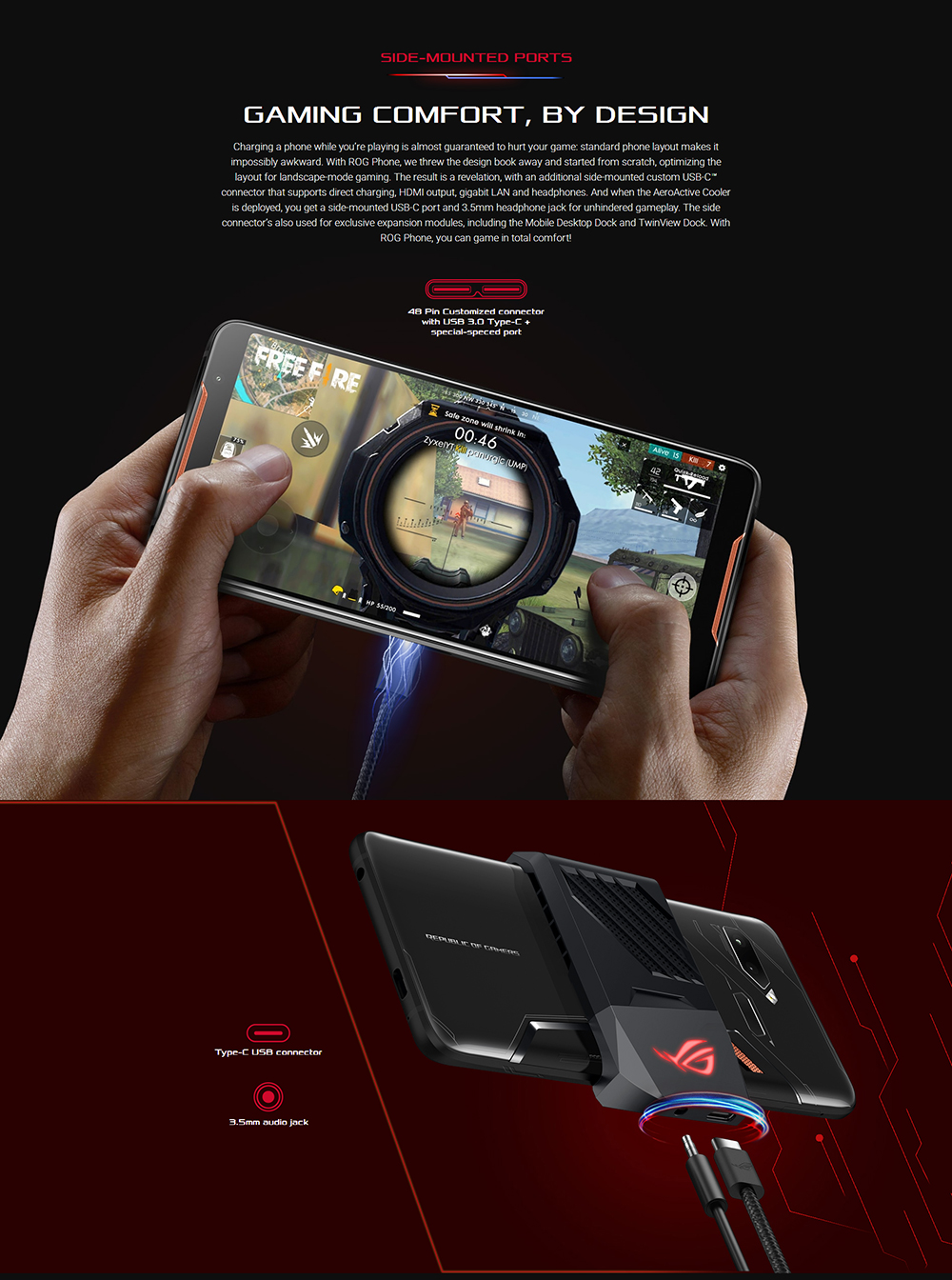 "ASUS ROG Telephone ZS600KL 8GB RAM 128GB ROM Gaming Phone Snapdragon 845 2.96GHz 6.0""18:9 AMOLED Screen Android8.1 4000mAh OTA 51"