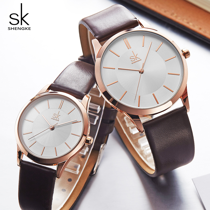 Shengke Fashion Leather Women Men Couple Watches Set Luxury Quartz Female Male Wrist Watch 2019 New Women's Day Gift #K8037