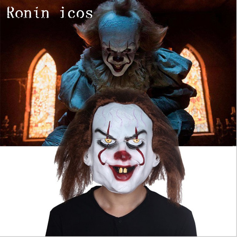 High Quality Movie Stephen King's It 2 Mask Pennywise Clown Joker Mask Halloween Party Cosplay Prop Full Face Horror Masks