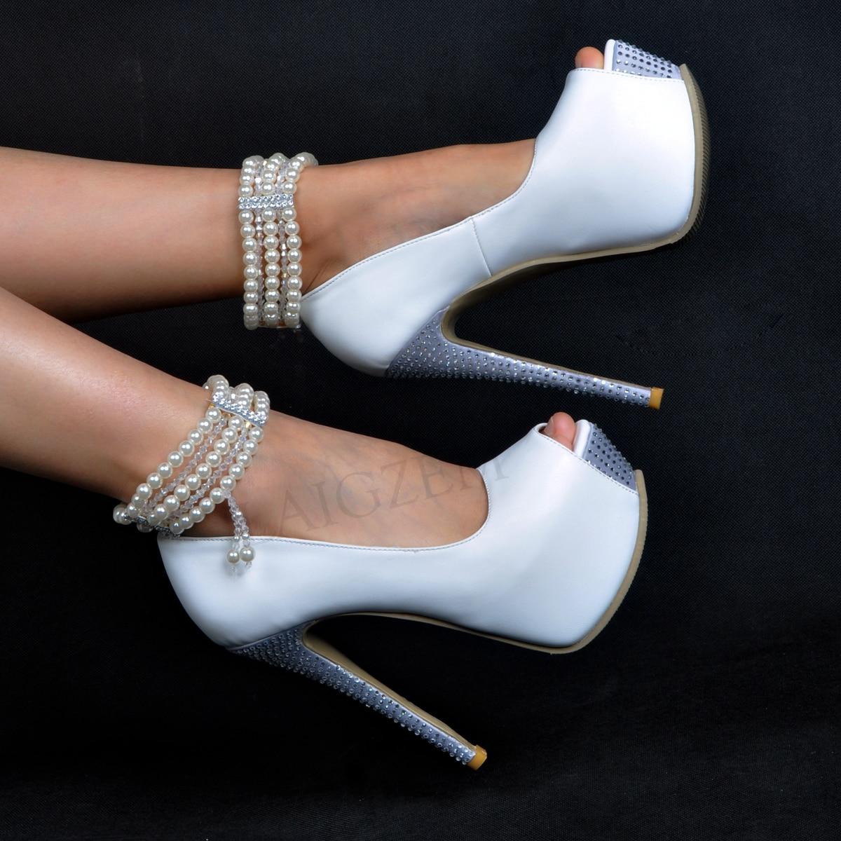 LAIGZEM Shoes Pumps Platform-Heels Pearl Autum Wedding Evening-Party Large-Size Peep-Toe