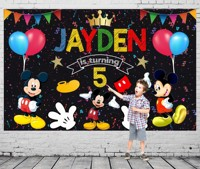 Custom Mickey Mouse Clubhouse Banner Poster Balloon Party backdrops Computer print birthday backgrounds