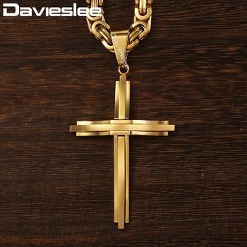 dfa2e2e0242c Davieslee Cruz colgante collares para hombres de acero inoxidable oro plata  negro bizantino enlace hombre Cruz collar de cadena DLKPM83