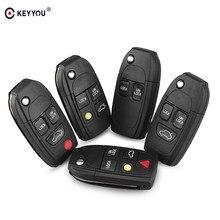 KEYYOU-carcasa de llave abatible plegable inteligente para coche, carcasa de repuesto modificada con 2/3/4/5 botones para Volvo XC70 XC90 V40 V50 V70 S60 S80