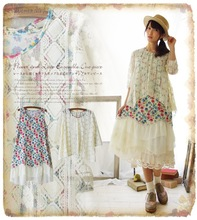 floral 2 piece sets crochet lace ruffle ethnic embroidery casual tunique femme lolita mori girl patchwork