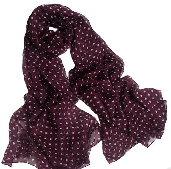 Womens scarf silk 2016 100% Natural Silk Wine Red Polka Dot Scarfs luxury brand Shawl Womens Designer Foulard Blanket hijab