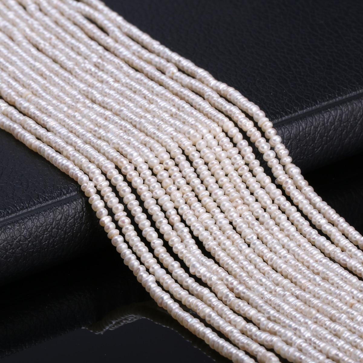 Perles de culture d'eau douce naturelles perles rondes 100% perles naturelles pour fabrication de bijoux collier Bracelet 13 pouces taille 2.5-3mm