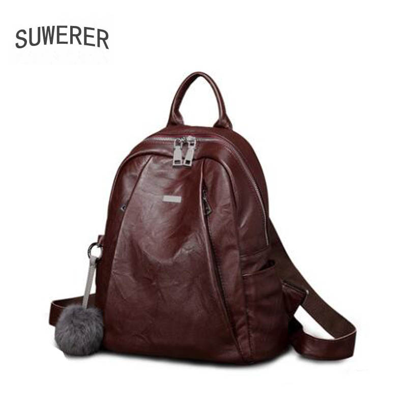 Women Genuine Leather bag  2019 new wave retro top layer cowhide wild fashion soft leather original small backpackWomen Genuine Leather bag  2019 new wave retro top layer cowhide wild fashion soft leather original small backpack