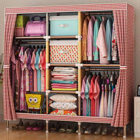 FREE Shipping 170X140X45CM Wardrobe Large Simple Home Steel Clothes Storage