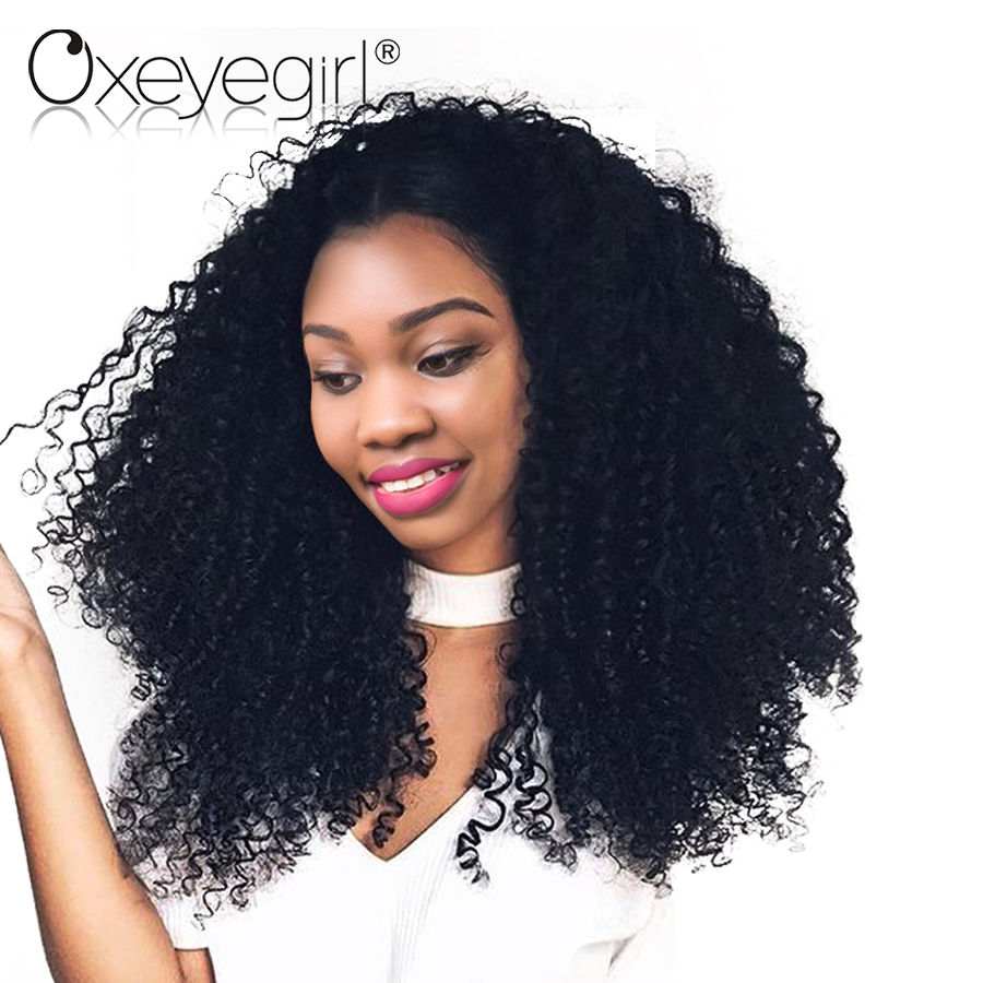 [Oxeye girl] Kinky Curly Wig Brazilian Curly Hair Lace Front Human Hair Wigs With Baby Hair Non Remy Hair 8″-24″ Natural Black
