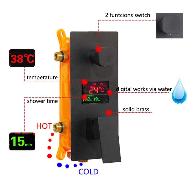 KEMAIDI robinet de douche de salle de bain 3 fonctions noir robinets de douche numérique Set pomme de douche à effet pluie robinet mitigeur à affichage numérique 2 voies - 2