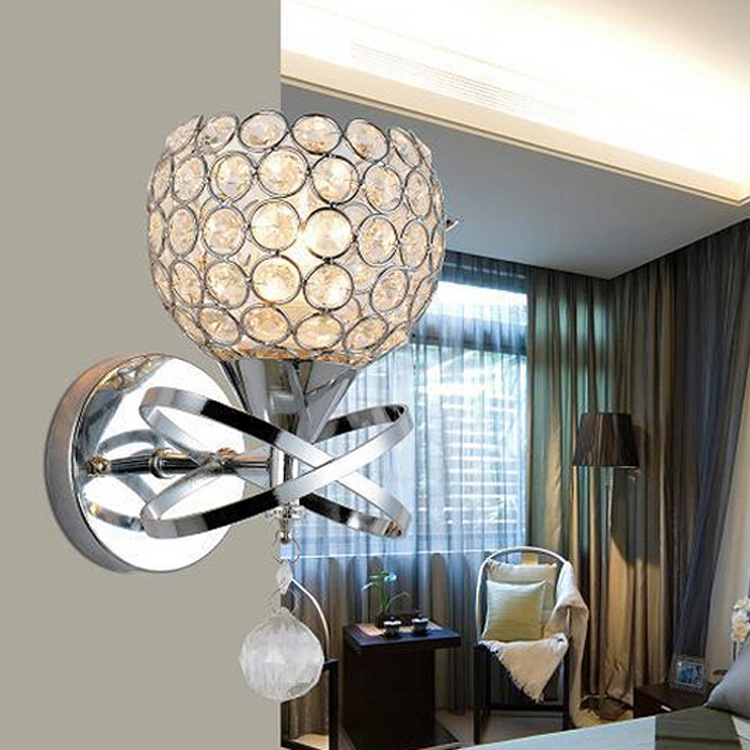 Wall Sconce Crystal Wall light Simple and creative warm bedroom bedside wall lamp Crystal lights