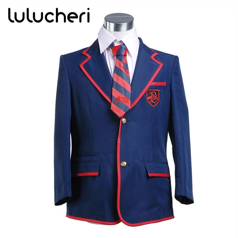Glee Cosplay Costume Blaine Anderson bleu marine uniforme scolaire Costume pour femmes filles cadeaux de noël