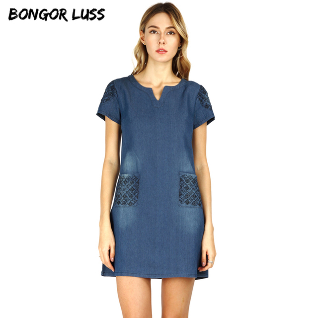 601cc7e054 BONGOR LUSS 2018 High Quality Summer Dress Women Loose Fashion Casual Mini  Jeans Dresses For Women