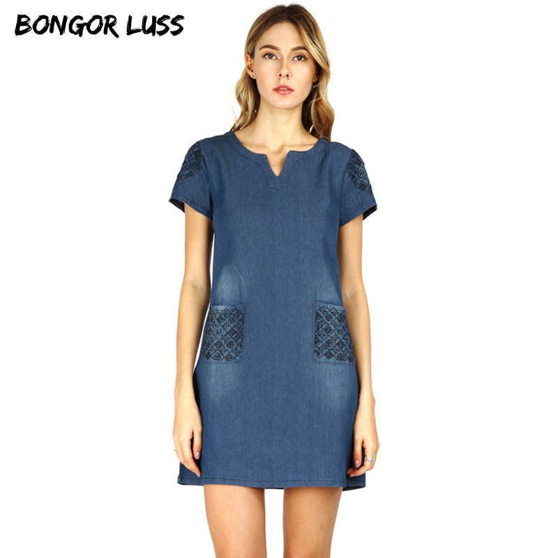34a0bd3cb69 BONGOR LUSS 2018 высокое качество летнее платье для женщин Свободные модные  повседневное джинсовые платья мини для