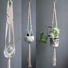 Новое поступление большой размер Подвеска для растений из макраме хлопок/лен веревка горшок вешалка для дома/сада