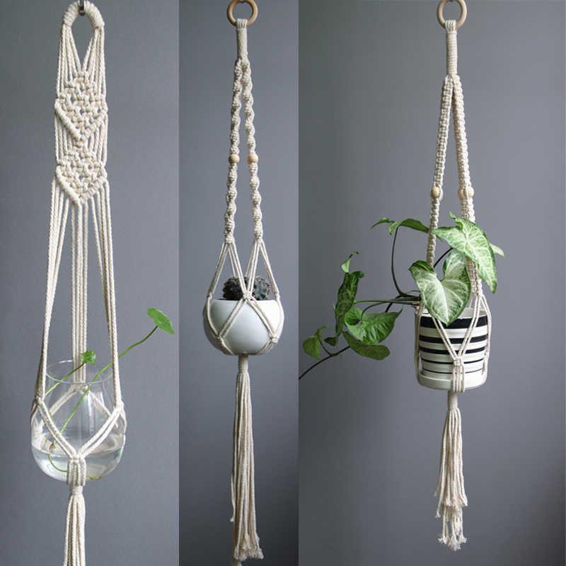 新着ビッグサイズマクラメ植物ハンガー綿/リネンロープポットハンガーホーム/ガーデン