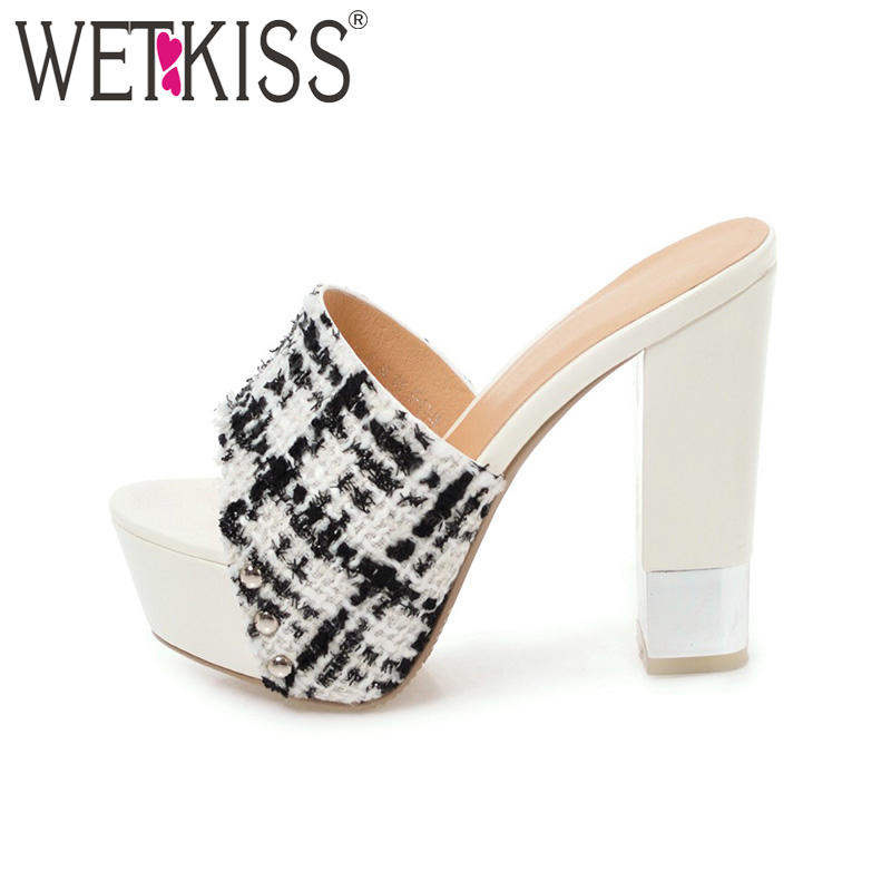 WETKISS Plus Size 43 Fashion Women Slippers Summer High Heel Mules Open toe Cloth Slides Ladies Platform Mule Footwear kemekiss women slippers clip toe flat heel crystal shine women summer shoes fashion korean holidays footwear size 36 40