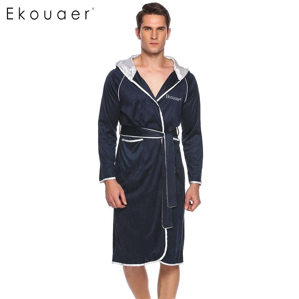 Ekouaer Men Casual Roze Hooded Long Sleeve Patchwork Pocket Bathrobe With Belt Male Sleepwear Nightwear Gray Navy Blue S-XL ...