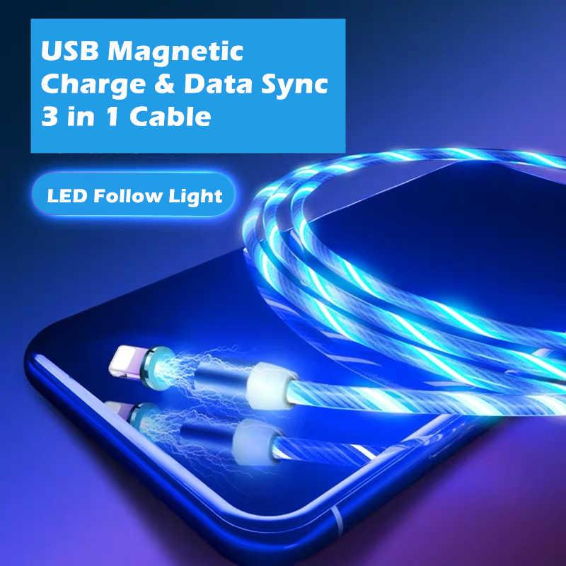 Светодиодный светильник USB Магнитный зарядный кабель для iPhone X Xs huawei P30 Lite P20 Pro Xiaomi Redmi Note 7 samsung шнур для сотового телефона