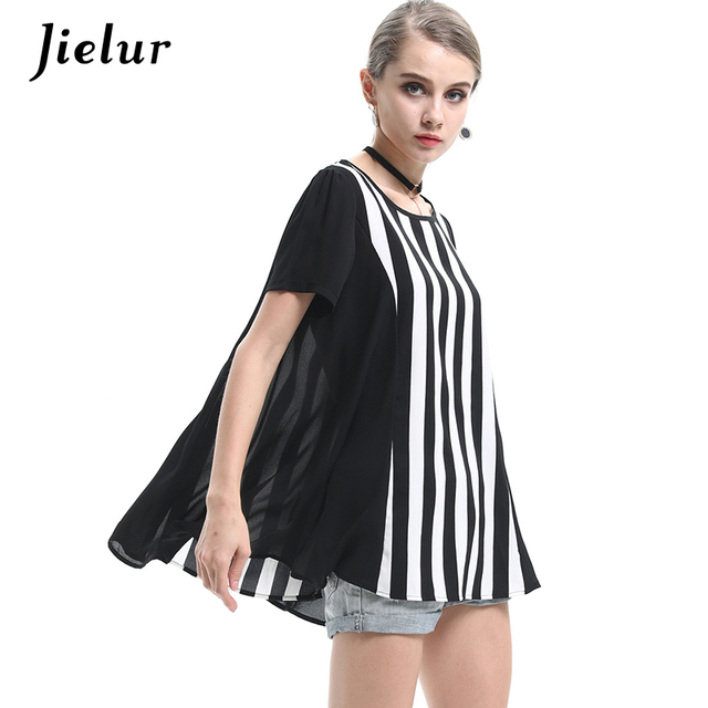 Jielur Summer New Plus Size L-4XL Loose Vertical Striped T-shirts Women  Short-sleeved Chiffon Female T shirt Fashion O-neck Tops 2c3dc85d5
