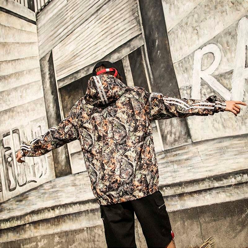 Кленовый лист куртка с капюшоном хип-хоп Уличная Куртки Realtree камуфляж Для мужчин ветровка куртка на молнии скейтборд Новый 2018 Весна