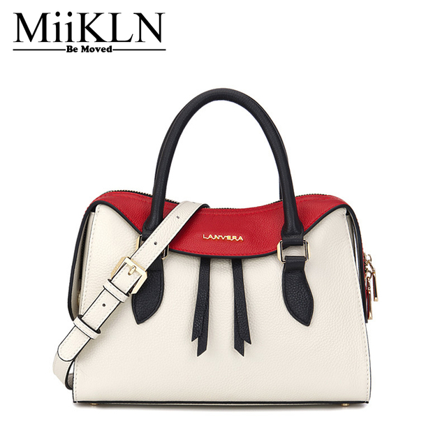 69b5d9086904 US $235.0  MiiKLN Genuine Leather Women Handbag Fashion Design Panelled Red  Black White Cow Leather Female Bags Casual Tote Big Larger Bag-in ...