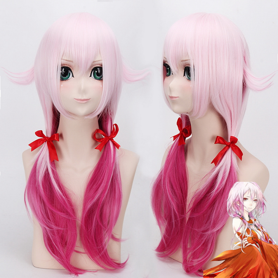 Guilty Crown Yuzuriha Inori Cosplay Wig Long Pink Rose Red Ombre Hair Synthetic Anime Halloween Costume Party Wigs For Women