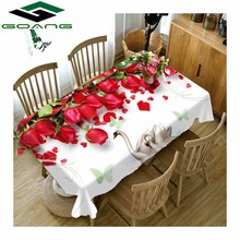 GOANG cotton tablecloth 3d digital printing red Rose swan pattern waterproof dustproof thicken rectangular and round table cover