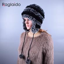 Raglaido Sale 2016 winter beanies fur hats for women knitted rex rabbit fur hat with ball Ear Caps casual women's hat LQ11194