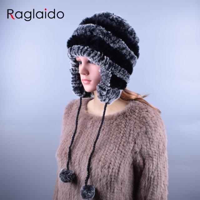 Raglaido Sale 2016 winter beanies fur hats for women knitted rex rabbit fur hat with ball Ear Caps casual women's hat LQ11194