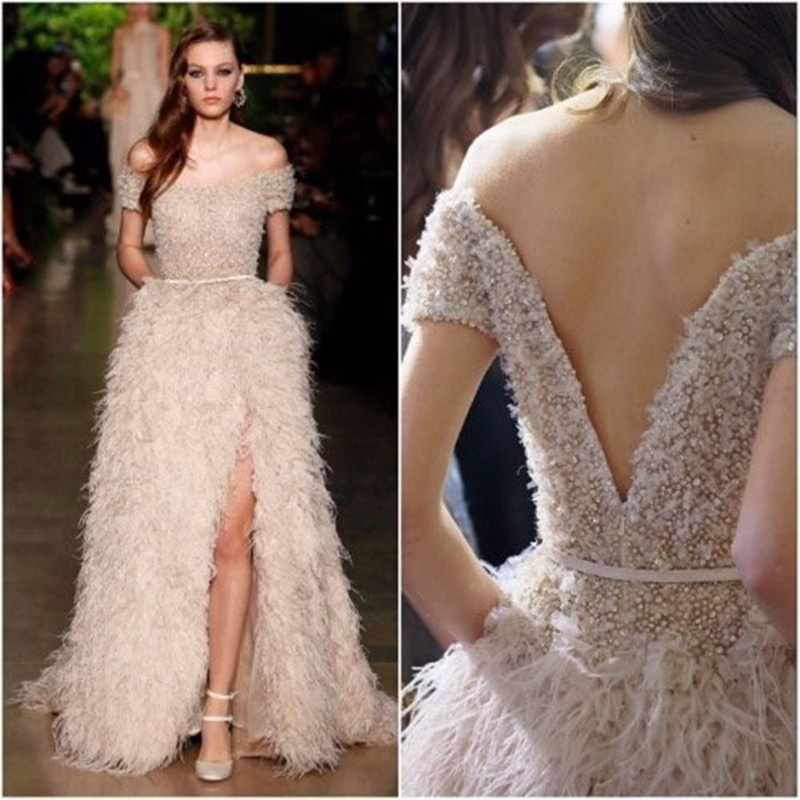 Fashion Ivory Feathers Front Split Evening Gowns Sexy Boat Backless Neck Beading Crystal Floor Length Wedding Party Dress
