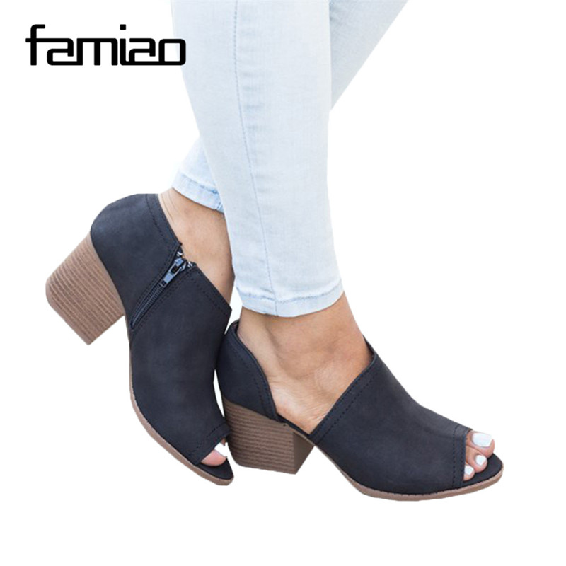 все цены на FAMIAO Summer Zapatos Mujer chunky high heels office ladies Peep Toe pumps women shoes woman party PU leather shoes m810