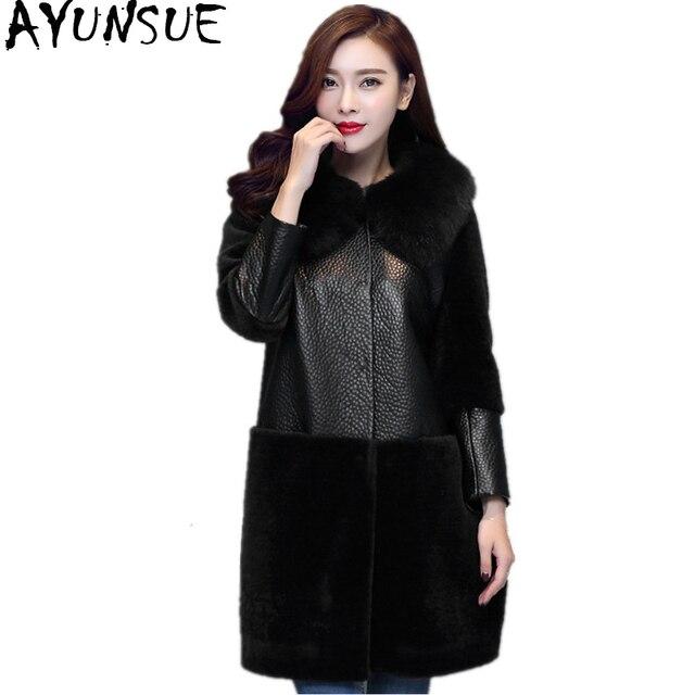 AYUNSUE Women's Real Fur Coat Winter Warm Natural Wool Jackets For Women Leather Patchwork Sheepskin Coats Fox Fur Collar WYQ941