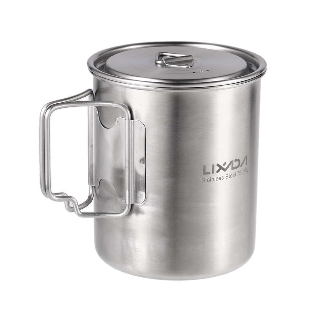 Lixada Portable Water Mug Cup 750ml Outdoor Travel Water Tea Cup with Lid Stainless Steel Pot for Outdoor Camping Cooking Picnic cup