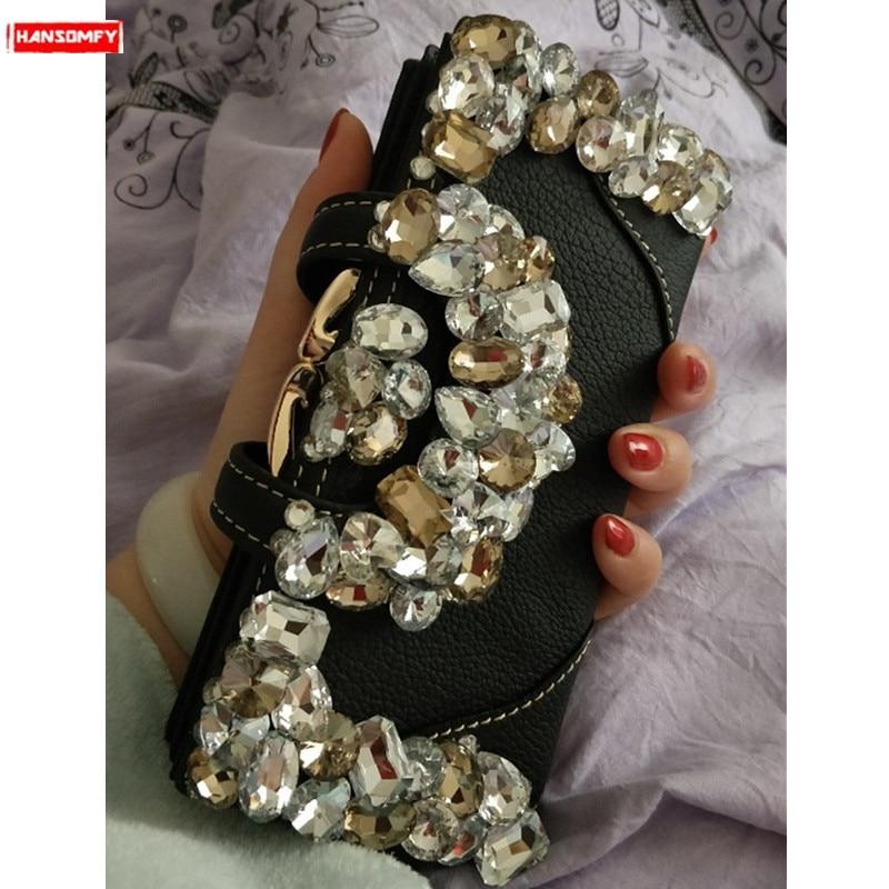 2020 Genuine Leather Diamonds Women's Long Wallet Fashion Button Snap Multi-card Rhinestone Wallet Ladies Clutch Bag Coin Purses