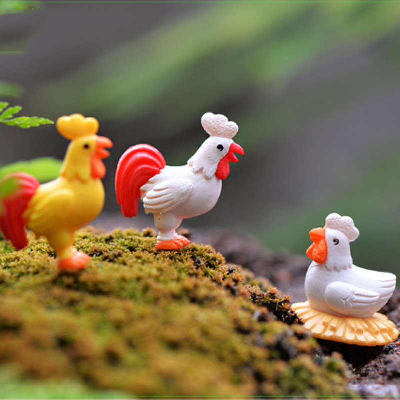 4pcs chicken breeds rooster hen fairy resin garden for Figurine decoration jardin