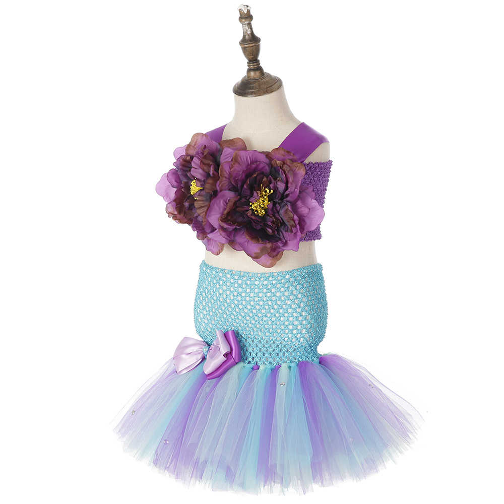 33759ad71d ... Princess Little Girl Mermaid Fish Tail Tutu Dress Infant Baby Kids Floral  Flowers 1st Birthday Cake ...