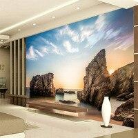 Free Shipping 3D HD Sea View Rock Beach Landscape Wall Mural Wallpaper Living Room Bedroom Seamless