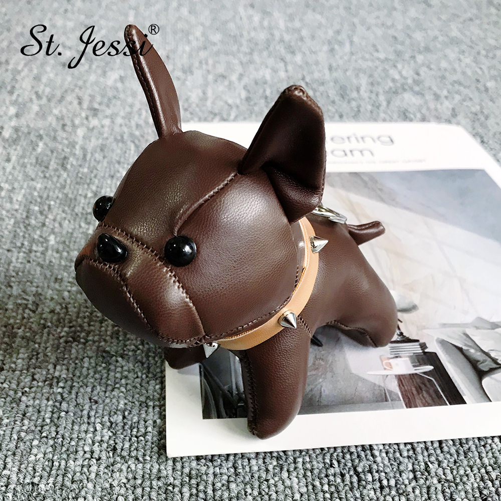 HOT Sale French Bulldog Keychain Leather Animal Dog Keyring Holder Bag Charm Trinket Chaveiros Bag Accessory Punk Style Pendant