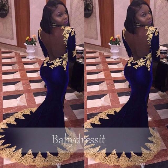 Sexy High Neck Long Sleeve Black Girl Real Sample Royal Blue Velvet