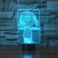 3d 7 Colors Lovely Rabbit Touch Table Lamp Changing Desk Lamp Lamp Novelty Led Night Lights